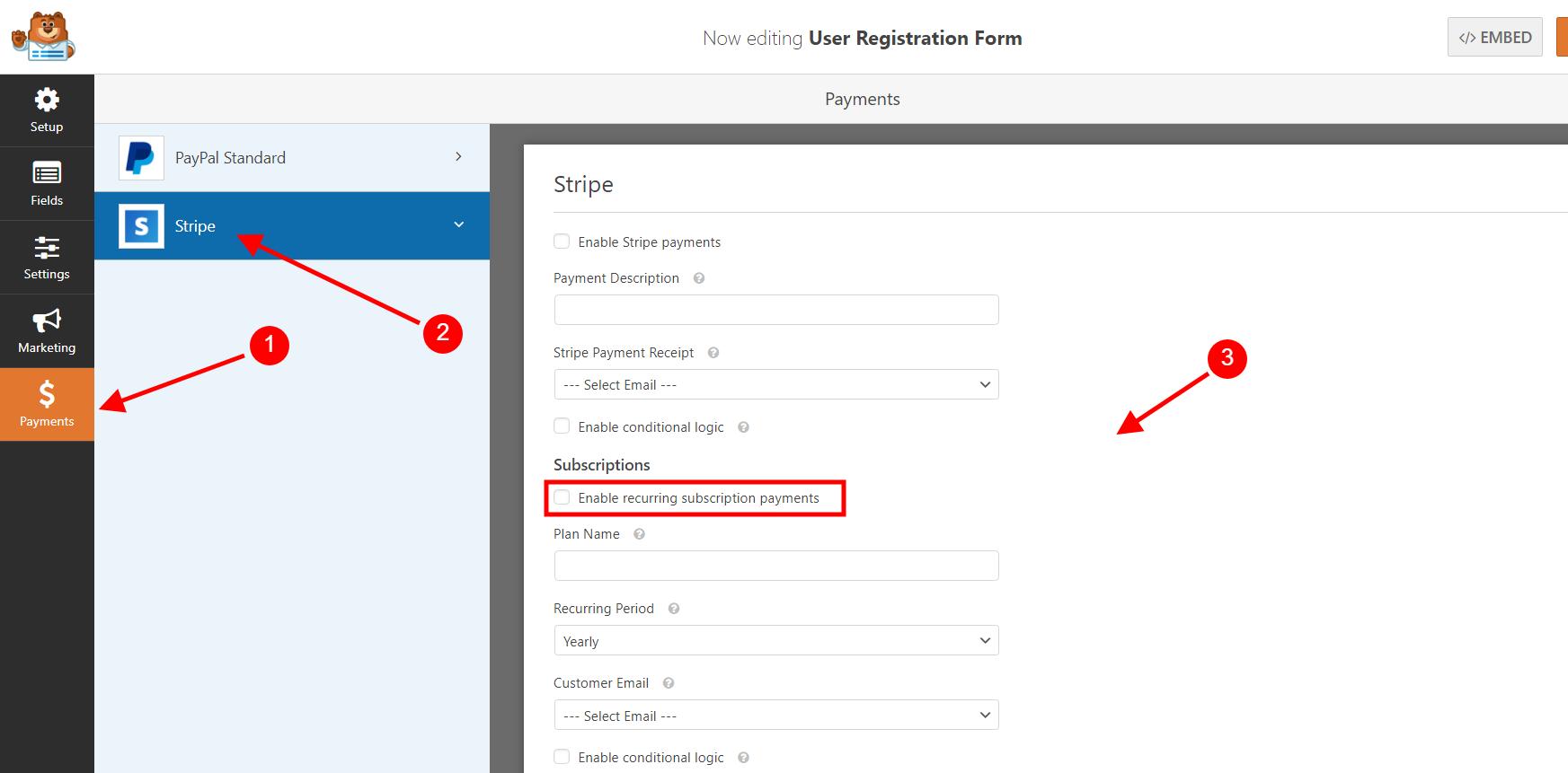 Enable Stripe Option On WPForms Form Builder