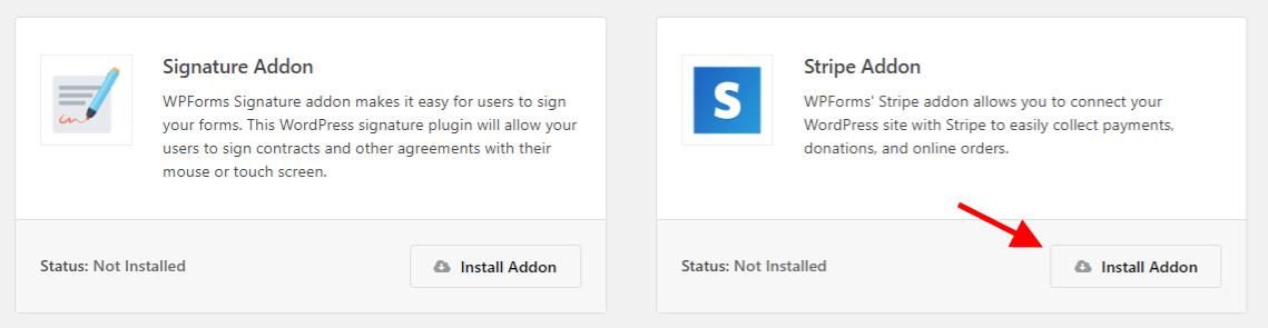 Install WPForms Stripe Addon Screenshot