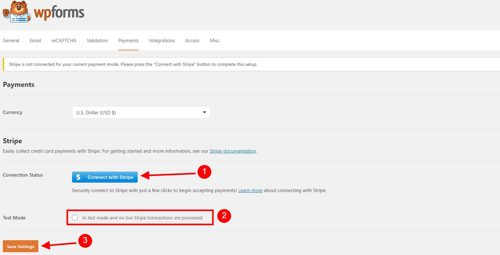 WPForms Payment Options Screenshot PayPal & Stripe